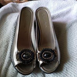 Helen's Heart Wedge Slide Sandals